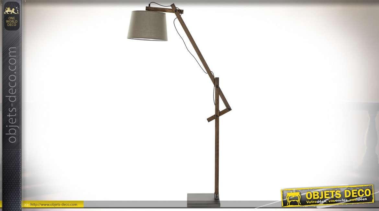 Lampadaire en bois de pin finition brune esprit chalet, 151cm