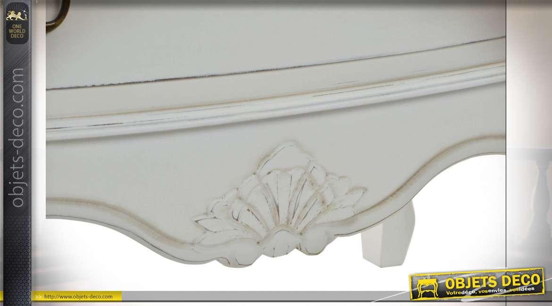 Commode aux pieds galbés finition blanche et beige style cottage, 90cm