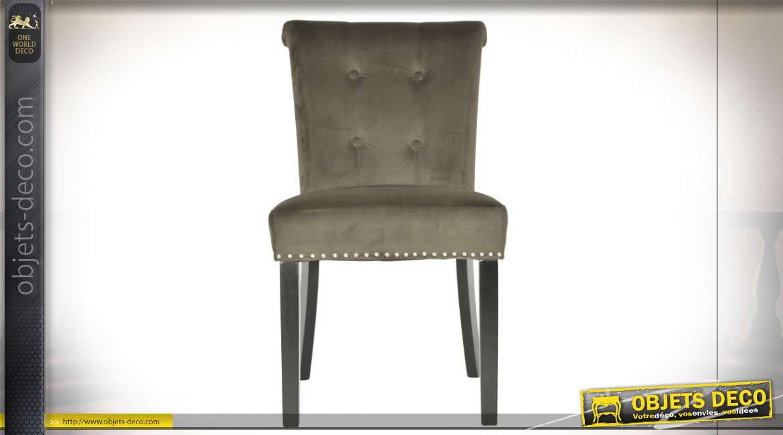 Chaise en velours avec clous de tapissier et anneau au dos esprit rétro, 89cm