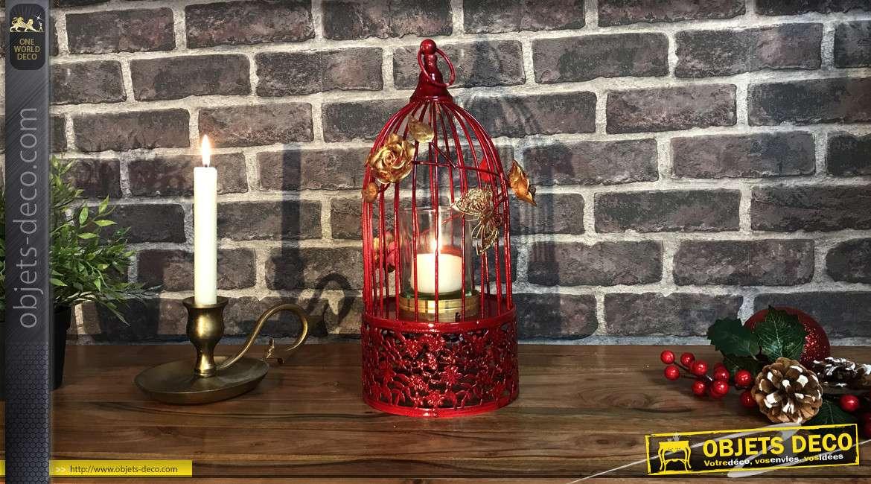 Photophore en métal en forme de cage à oiseau, finition rouge passion et roses dorées, 37cm
