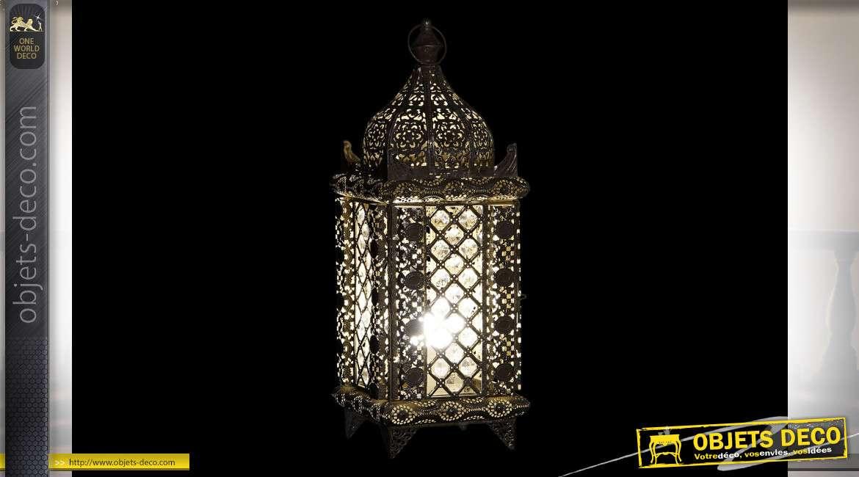 Lanterne électrifiée de style oriental avec pendeloques, finition dorée vieillie, 50cm
