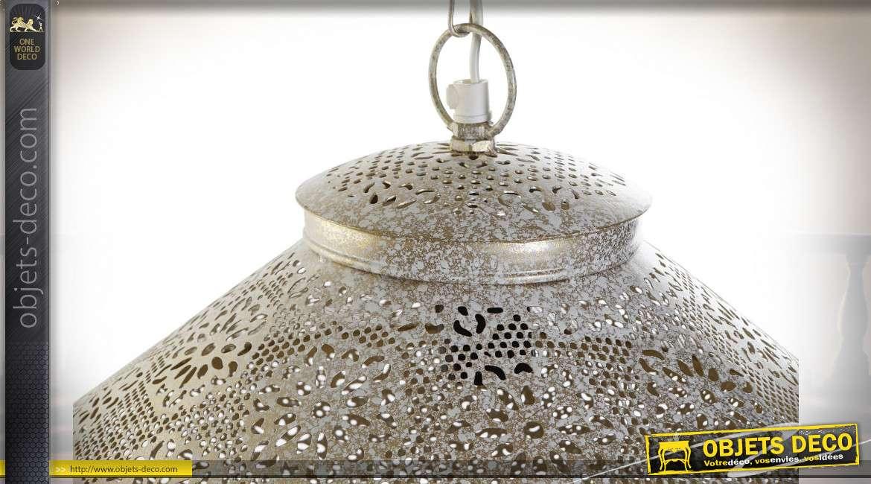 Suspension luminaire esprit moucharabieh finition dorée blanchie style oriental, 47cm