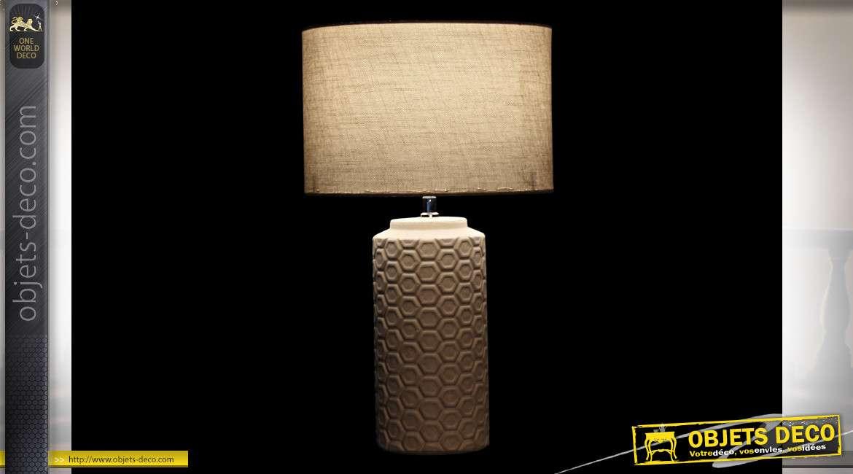 LAMPE DE TABLE CÉRAMIQUE POLYESTER 30X30X51 BLANC