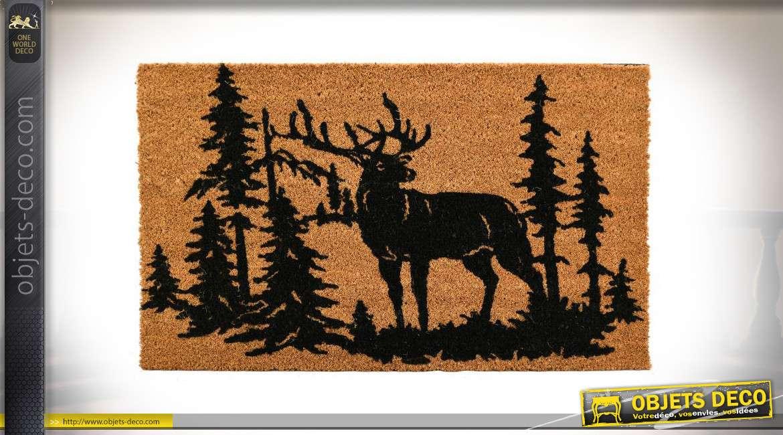 Paillasson en coco avec motifs forestiers, représentation d'un cerf et sapins, envers latexé, 40x60cm