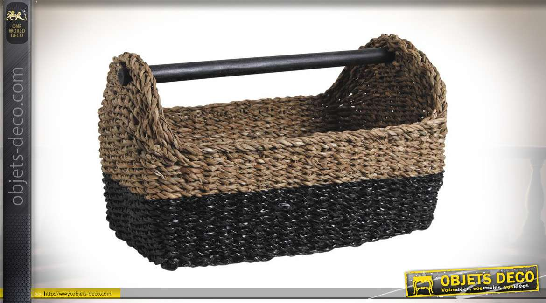 Panier porte revues en jonc de mer naturel et teinté noir, poignées en bambou, 48cm