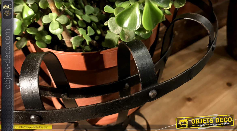 Support pour plante en métal esprit fer forgé finition noire écaillée, forme de vase inspiration Médicis, Ø35cm