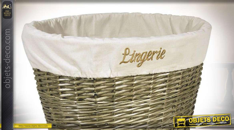Corbeille à linge en éclisse finition gris naturel, doublure en coton écru et broderie Lingerie centrale, 56cm