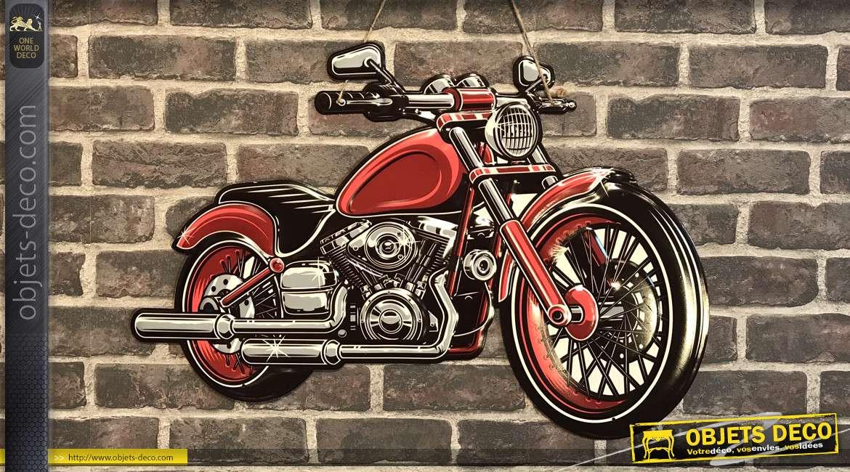 Grande plaque murale en métal en forme de moto finition vieux rouge, style rétro années 60, à suspendre, 70cm