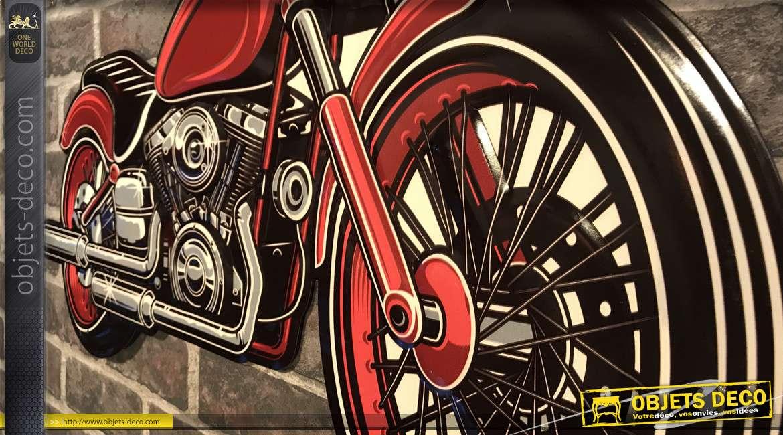 Grande plaque murale en forme de moto finition vieux rouge, style rétro années 60, à suspendre, 70cm