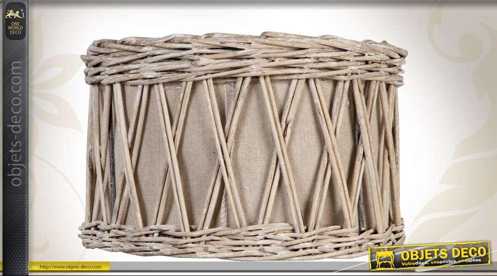 Abat-jour en osier et tissu de forme cylindrique