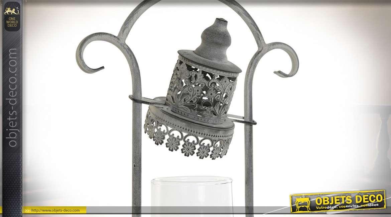 Lanterne esprit vieille lampe à pétrole en métal gris vieilli sryle rétro, 43cm