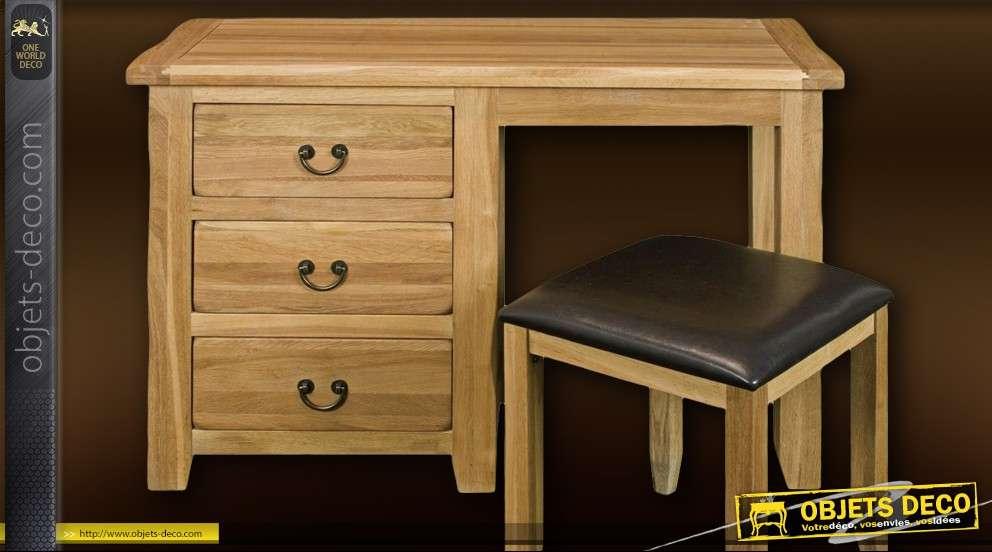 Bureau de style rustique en bois massif avec tabouret