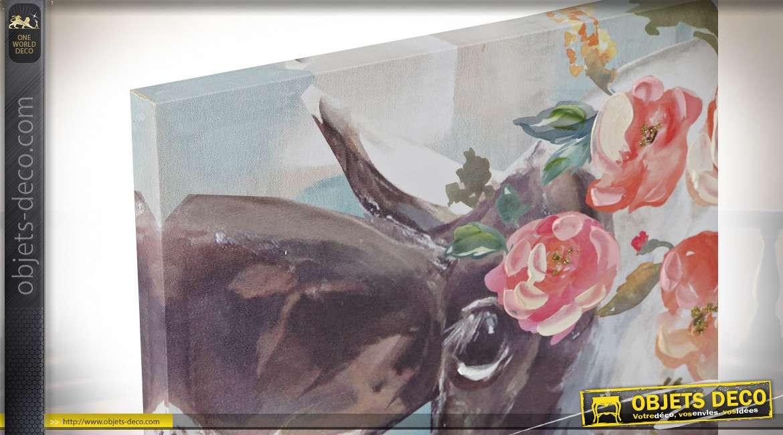 Série de deux toiles représentant 2 vaches couronnées de fleurs, ambiance savoyarde, 70x70cm