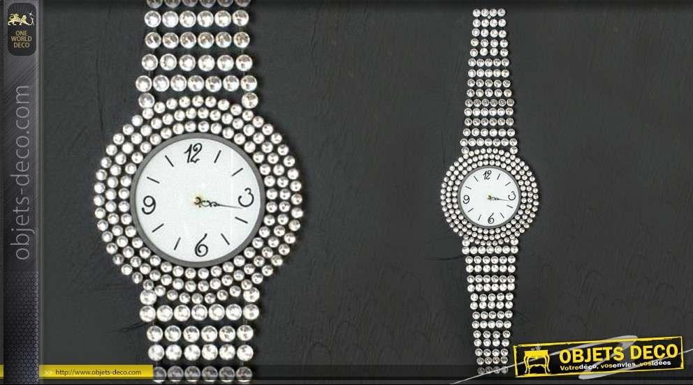 Horloge En Forme De Montre Geante En Strass
