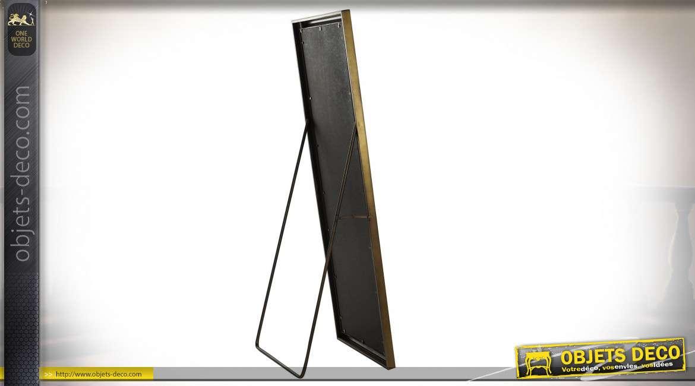 Grand miroir de dressing sur pied finition noire et dorée, 170.5cm