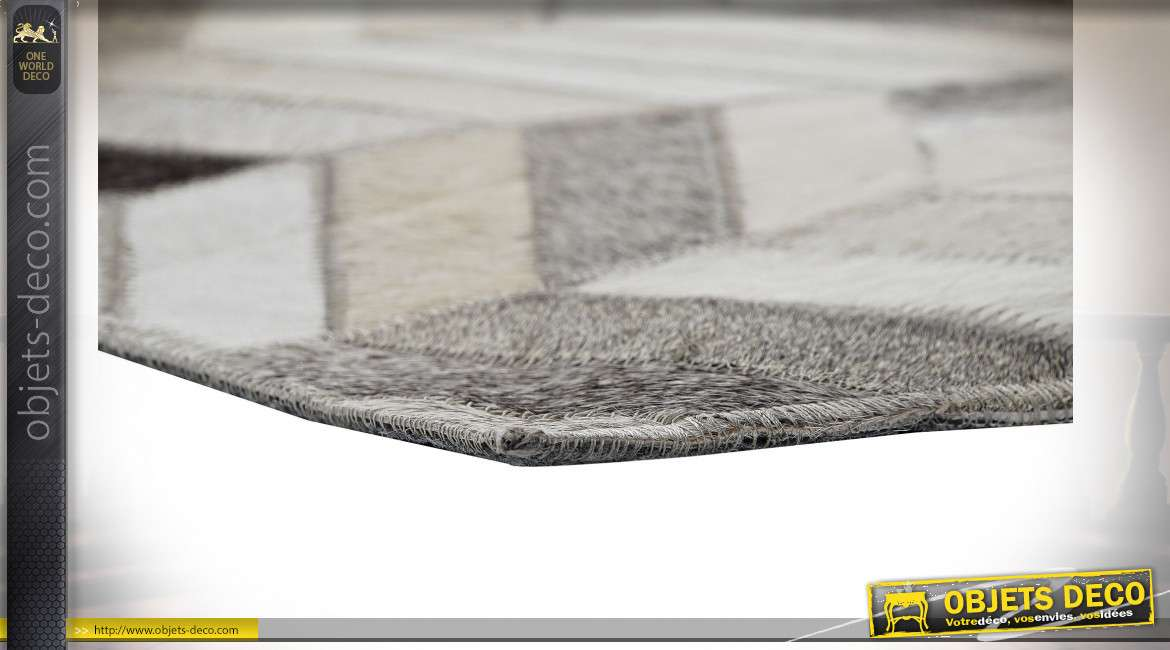 Grand tapis style moderne contemporain en polyester imitation fourrure multicolore, 120x180cm