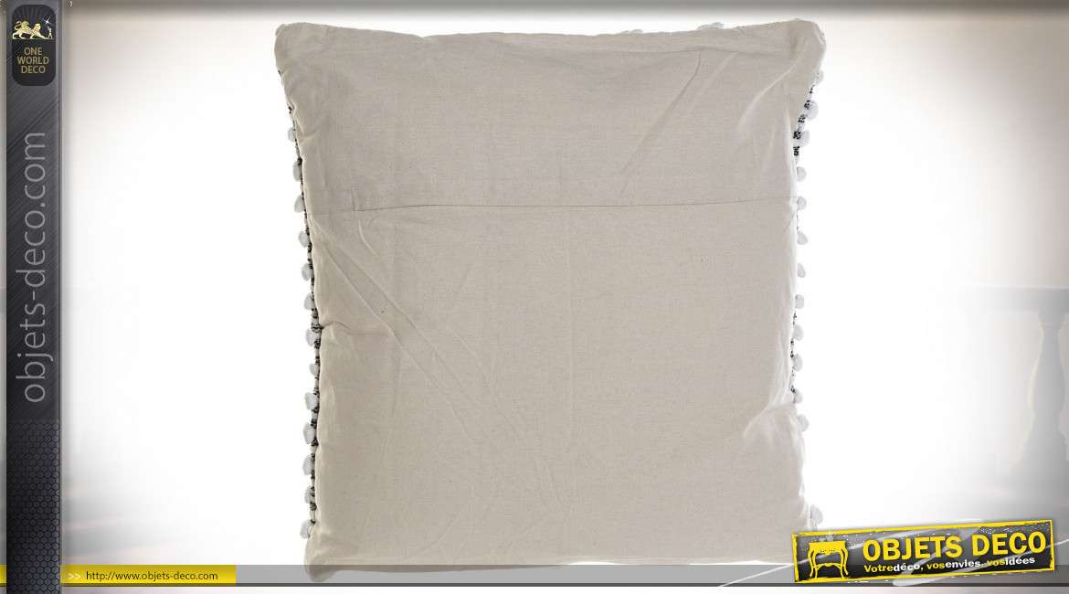 COUSSIN COTON 60X60 700 GR. NOEUDS BLANC