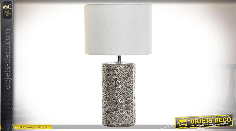 LAMPE DE TABLE CÉRAMIQUE POLYESTER 30X30X55 GRIS
