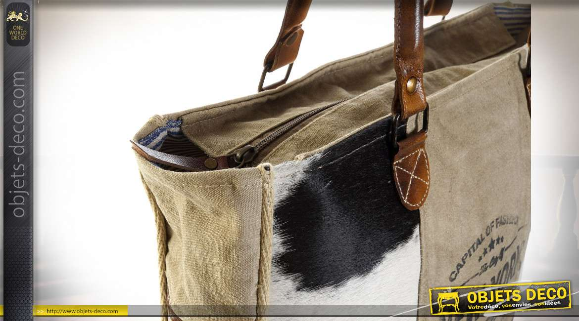 SAC MAIN COTON CUIR 52X17X66 VACHE DE NEW YORK