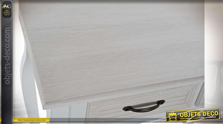 Console de style romantique aux pieds galbés patine blanche et crème, 80cm