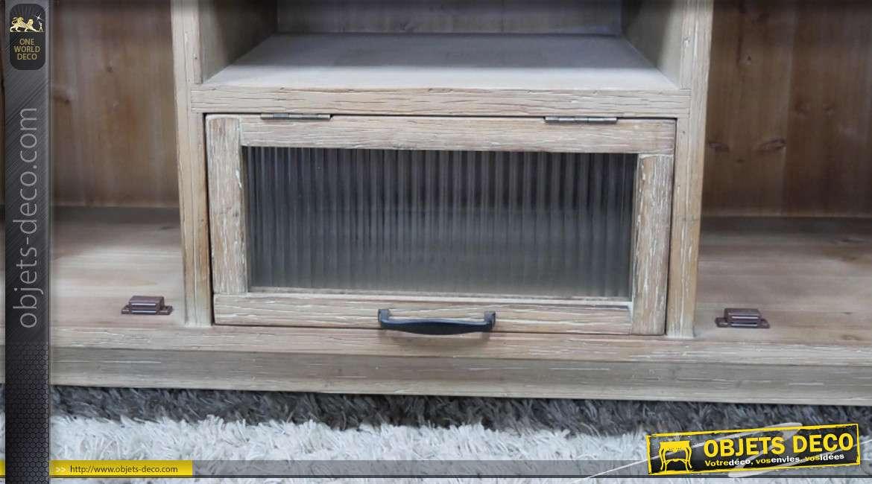 Meuble TV en bois de sapin de style rustique, veinage apparent finition légèrement blanchi, esprit massif, collection Rustichic, 120cm