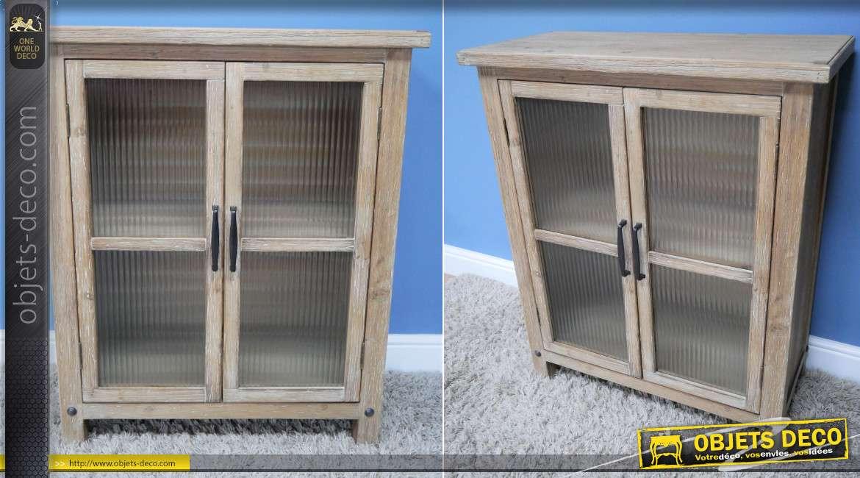 Meuble d'appoint en bois de sapin finition blanchi, richement veiné et texturé, de style rustique avec portes vitrées, collection Rustichic, 92cm