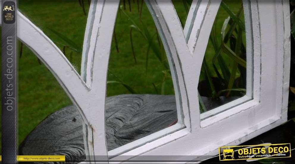 Miroir style arche gothique patine blanc antique