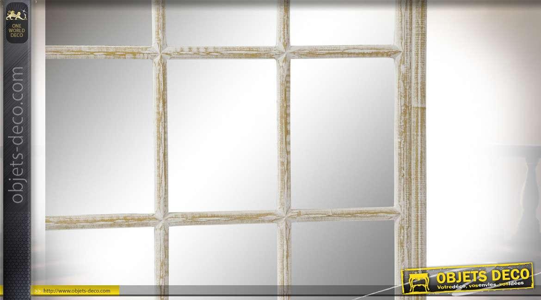 Miroir-fenêtre en bois finition blanc usé de style campagne chic, 87.5cm