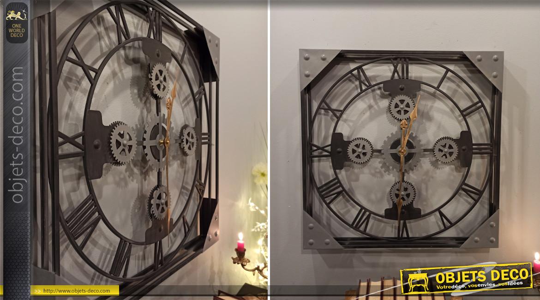 Horloge murale carrée à engrenages en fer noir et gris de style industriel, 61cm