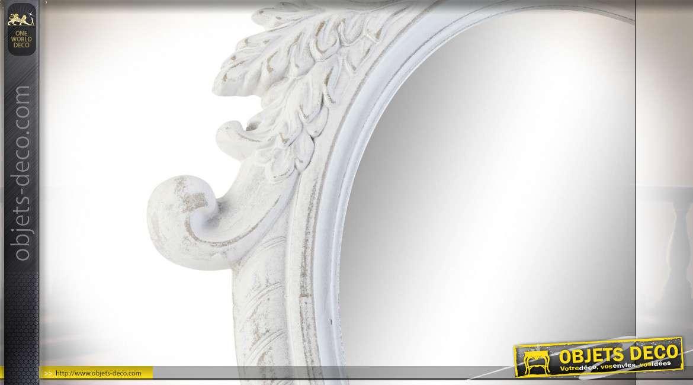 Miroir mural en bois taillé style baroque finition blanche, 80cm