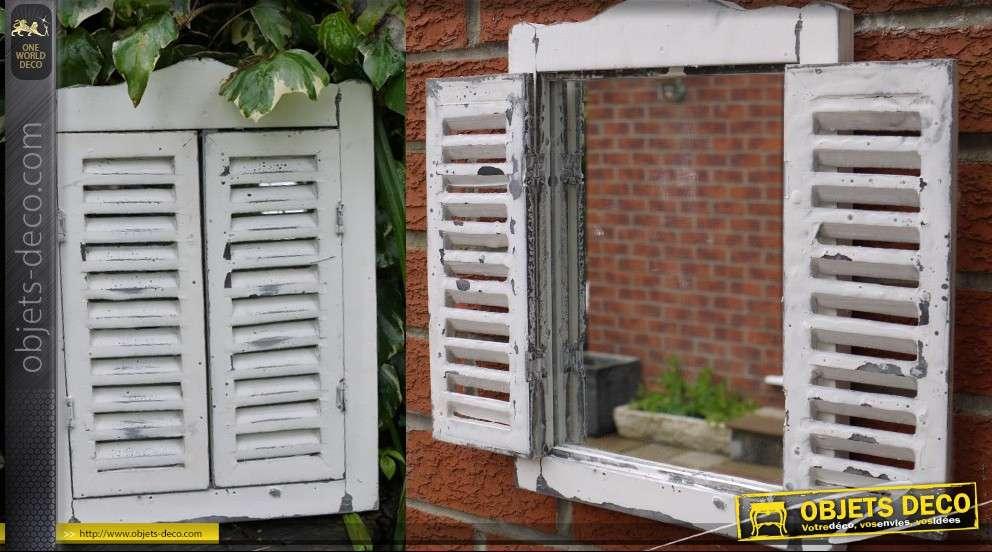 Miroir déco murale fenêtre avec volets à persiennes