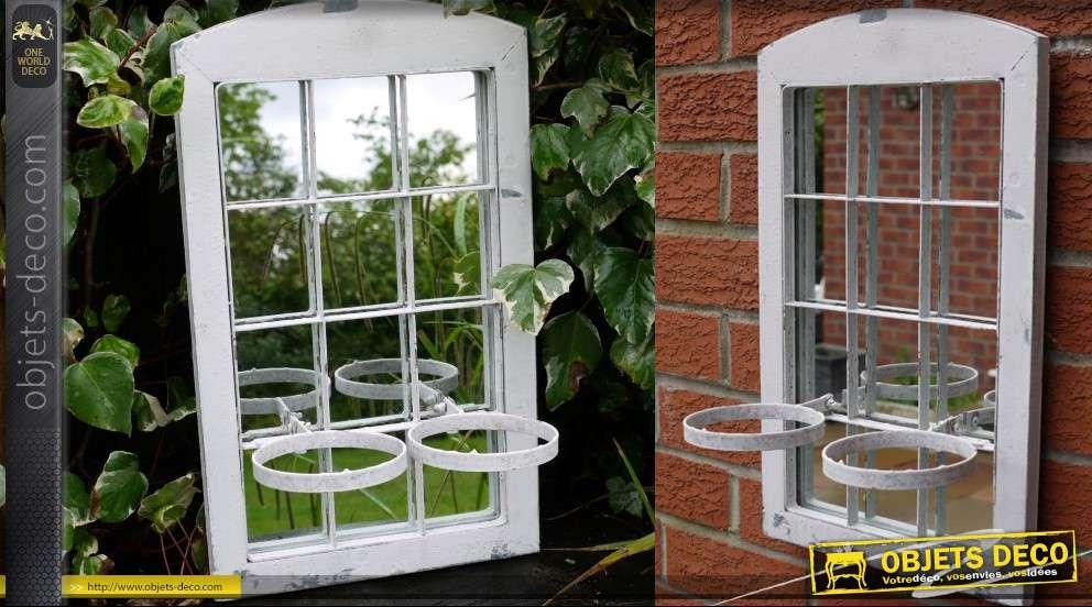 miroir d coratif fen tre avec double support pour pots de fleurs. Black Bedroom Furniture Sets. Home Design Ideas