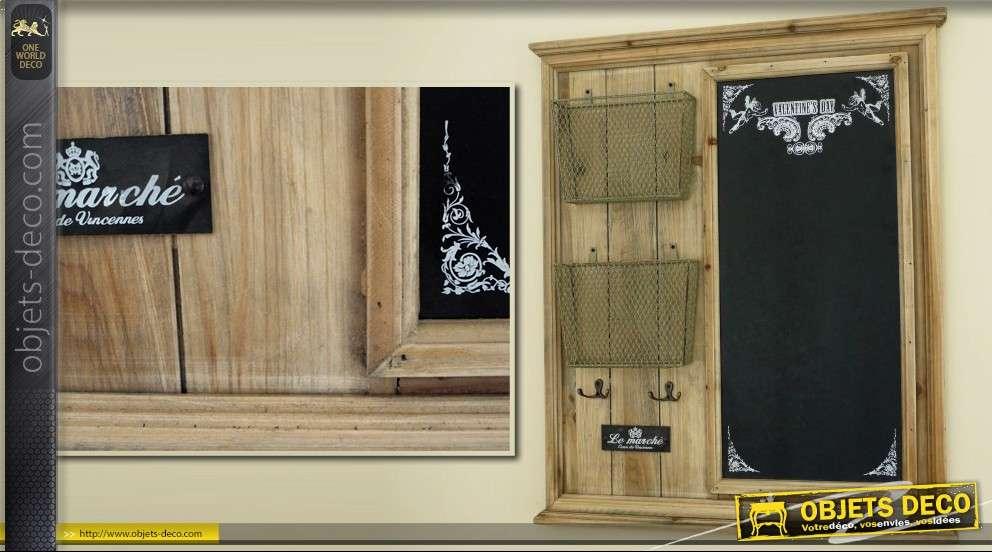 tableau noir vertical d coratif avec mini paniers m tal. Black Bedroom Furniture Sets. Home Design Ideas