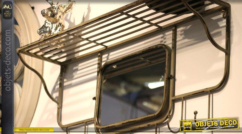 Miroir de vestiaire indus et vintage en fer forgé avec étagère