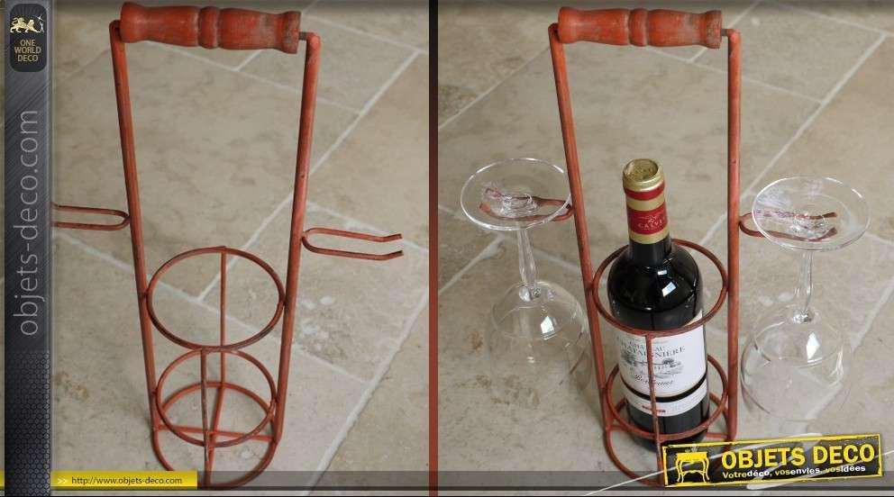 Support porte bouteille et porte verre style ancien - Porte bouteille de table ...