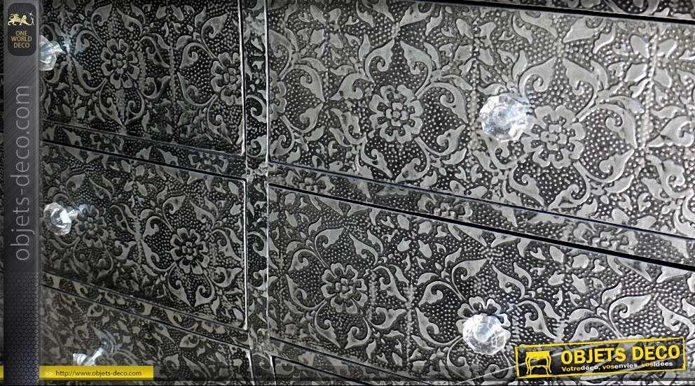 Commode à 8 tiroirs noir et argent métal embossé
