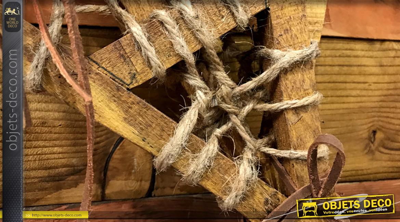 Reproduction d'une paire de raquettes à neige ancienne en bois et corde, de style rustique, modèle de taille moyenne, 55cm
