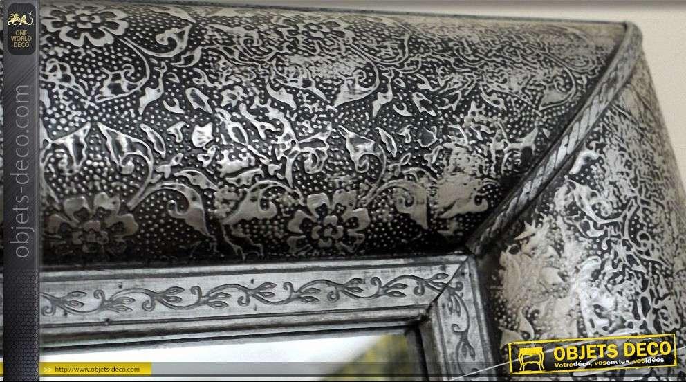 Miroir oriental style marocain noir et argent métal embossé