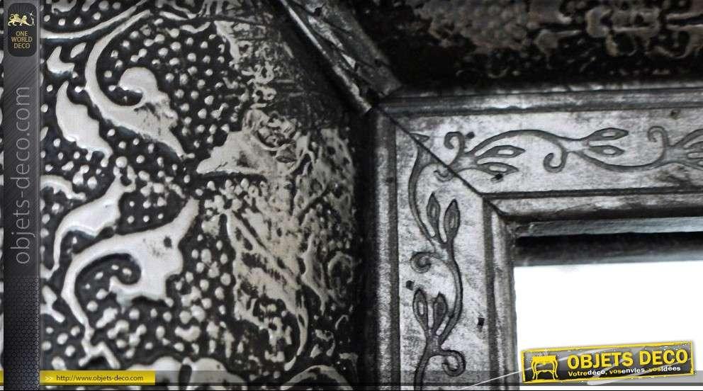Miroir oriental style marocain noir et argent m tal emboss for Miroir oriental