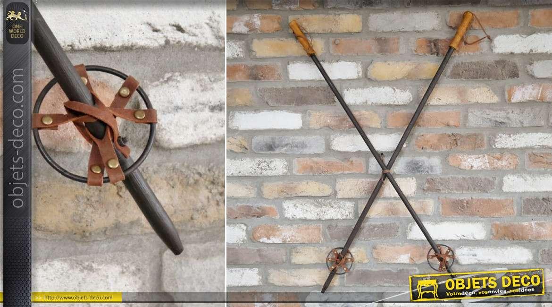 Paire de bâtons de ski en bois et corde, accessoire de décoration murale de style rustique, ambiance hivernale, 100cm
