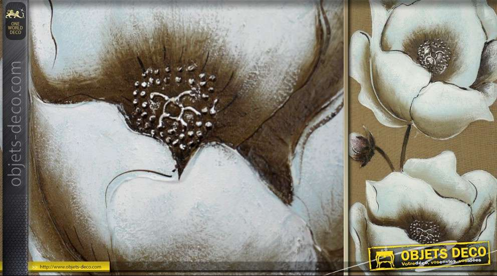 Tableau mural sur toile Fleurs sur fond écru