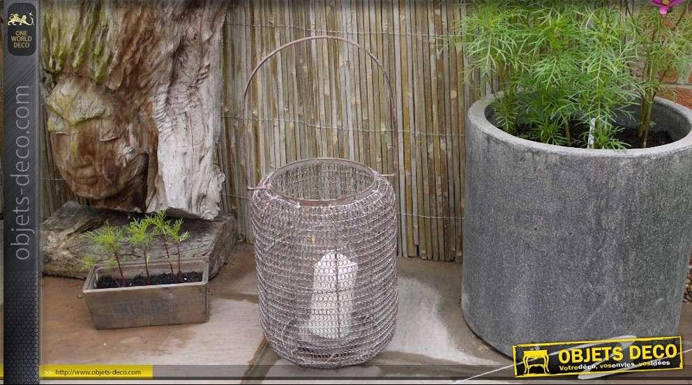 lanterne de style r tro grillag e de forme cylindrique 46 cm. Black Bedroom Furniture Sets. Home Design Ideas