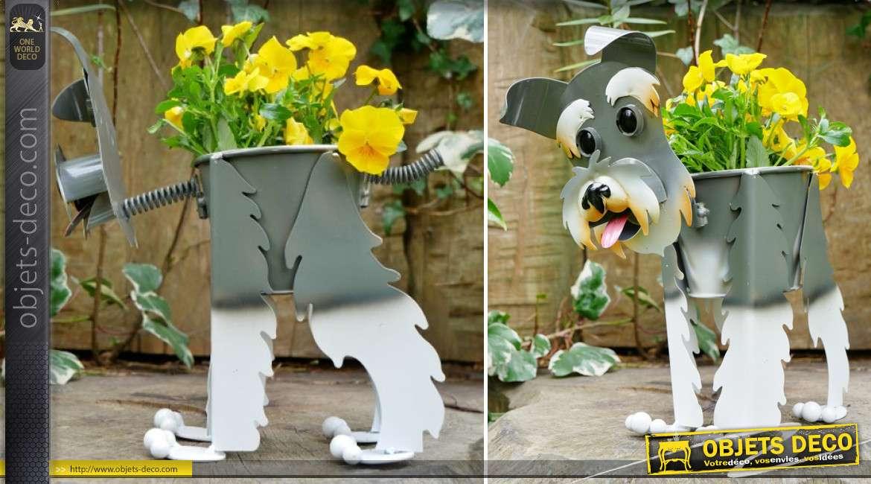 Terrier écossais version jardinière en métal, décoration pour jardin ou terrasse originale et colorée, 28cm