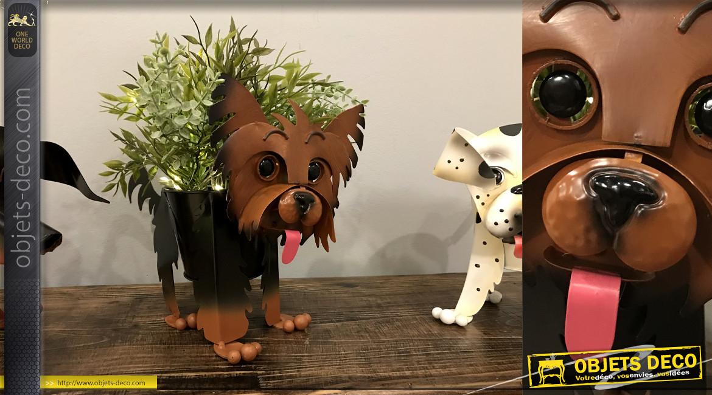 Yorkshire terrier version jardinière décorative en métal, pour jardin ou terrasse, originale et colorée, 24cm