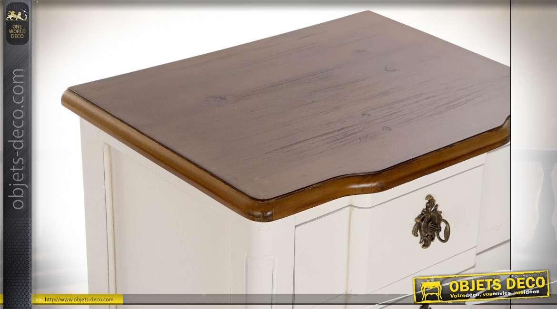 TABLE DE CHEVET PAULOWNIA 48X36X65 BLANC