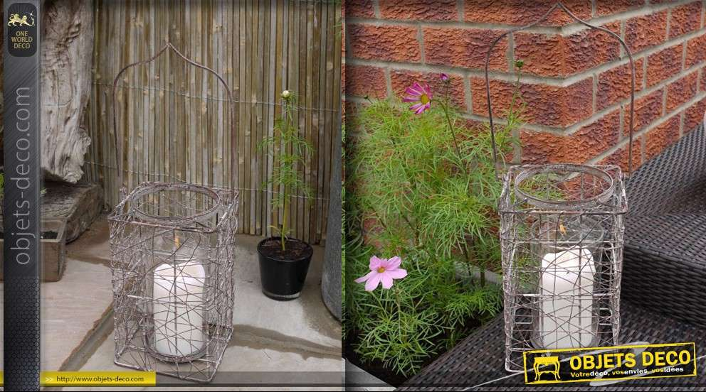 lanterne d corative style ancien panier grillag 50 cm. Black Bedroom Furniture Sets. Home Design Ideas