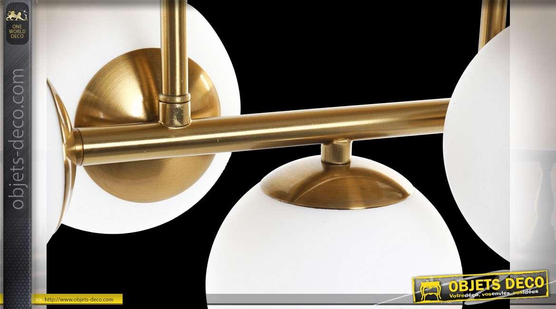 LAMPE APPLIQUE ALUMINIUM VERRE 50X27X26 5 BOULES
