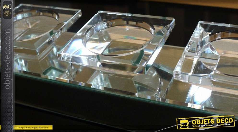 Grand bougeoir design plat en verre et miroirs pour 5 bougies for Grand objet deco