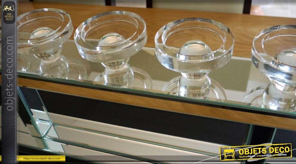 Grand bougeoir luxe et design en verre et miroir for Verre et miroir