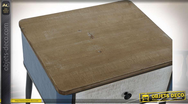 TABLE DE CHEVET MÉTAL BOIS 48,5X42X49 BLEU